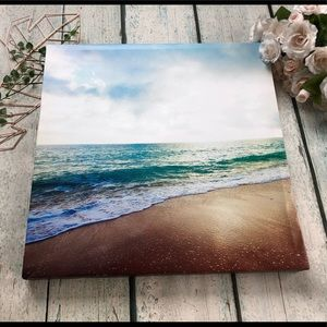 Beach canvas photo wall hanging decor gallery blue